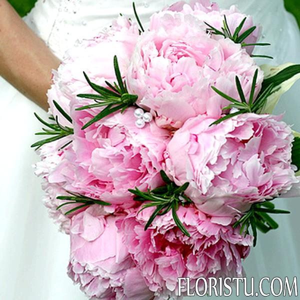 Свадебные букеты из пионов - 22 фото